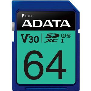 ADATA Premier Pro SDXC 64GB 100R/80W UHS-I U3 Class 10 A2 V30S ASDX64GUI3V30S-R