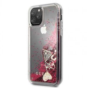 Pouzdro Guess pro iPhone 11 Pro malinowy/Glitter Hearts GUHCN58GLHFLRA