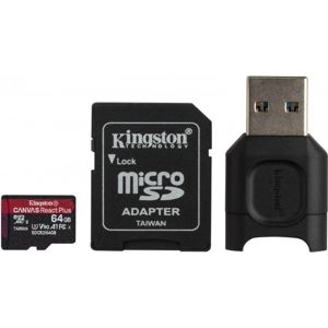 Kingston microSDXC Canvas React Plus SDCR2 64GB + adapter + czytnik