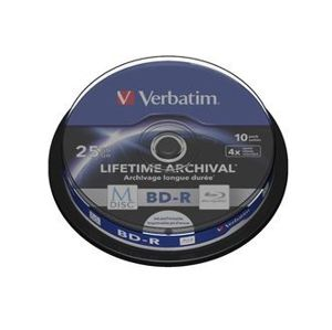Verbatim BD-R 25GB 4x, M-Disc, printable, spindle, 10 ks 43825